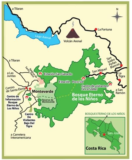 Mapa de Monteverde